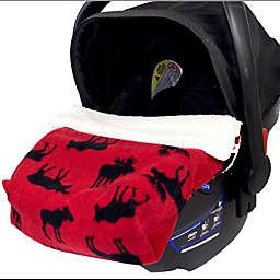 CosyCare CosyToes Mountain Fleece Moose Baby Blanket in Red