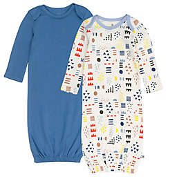 The Honest Company® 2-Pack Organic Cotton Sleeper Gowns in Blue/Ivory