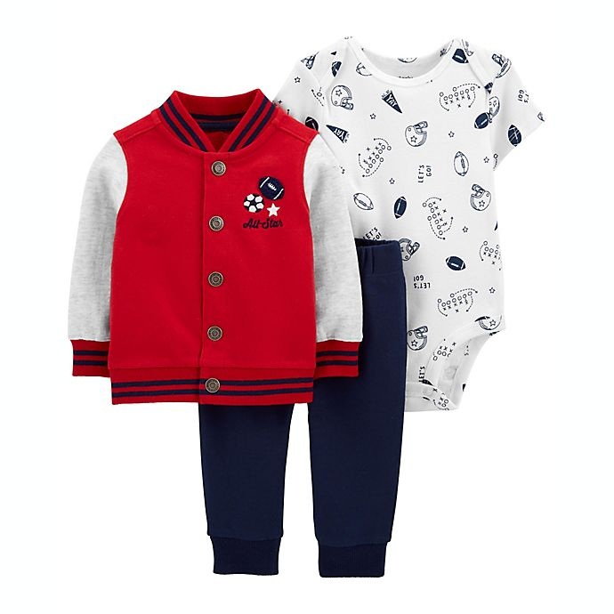 Alternate image 1 for carter's® Size 6M 3-Piece Varsity Little Jacket, Bodysuit, and Pant Set in Red