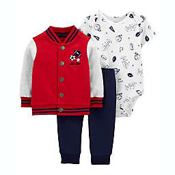 carter's® Size 3M 3-Piece Varsity Little Jacket, Bodysuit, and Pant Set in Red