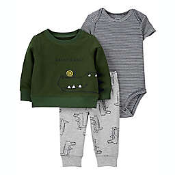 carter's® 3-Piece Alligator Little Cardigan, Bodysuit, and Pant Set in Green
