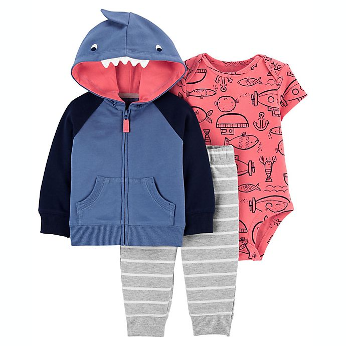 Alternate image 1 for carter's® Size 24M 3-Piece Shark Little Jacket, Bodysuit, and Pant Set in Blue