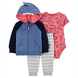 carter's® Newborn 3-Piece Shark Little Jacket, Bodysuit, and Pant Set in Blue
