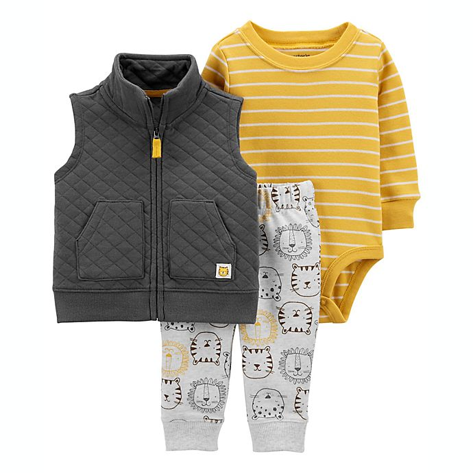 Alternate image 1 for carter's® 3-Piece Lion Vest, Bodysuit, and Pant Set in Grey