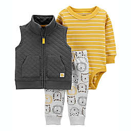 carter's® 3-Piece Lion Vest, Bodysuit, and Pant Set in Grey