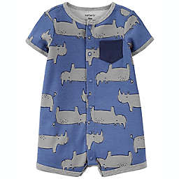 carter's® Rhino Snap-Front Romper in Blue
