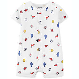 carter's® Sports Print Cotton Snap-Up Romper in Ivory
