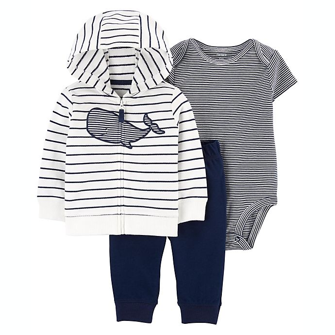 Alternate image 1 for carter's® Whale 3-Piece Little Jacket, Bodysuit, and Pant Set in Blue