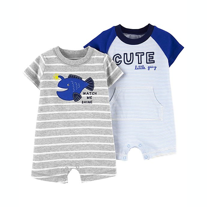 Alternate image 1 for carter's® Size 18M 2-Pack Cotton Rompers in Blue/Grey