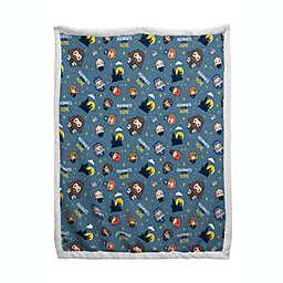 Harry Potter Schoolmates Sherpa Back Blanket in Blue