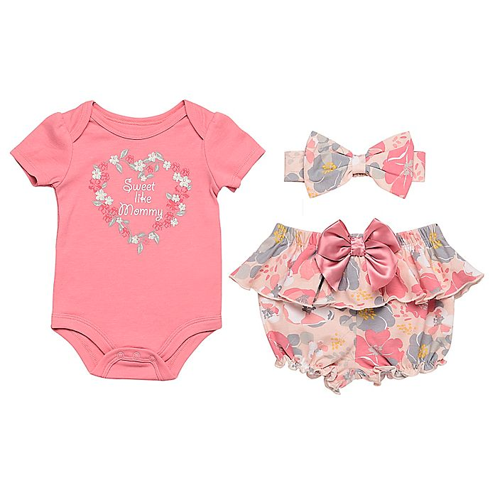 Alternate image 1 for Baby Starters® 3-Piece Sweet Like Mommy Bodysuit, Diaper Pant and Headband Set in Pink