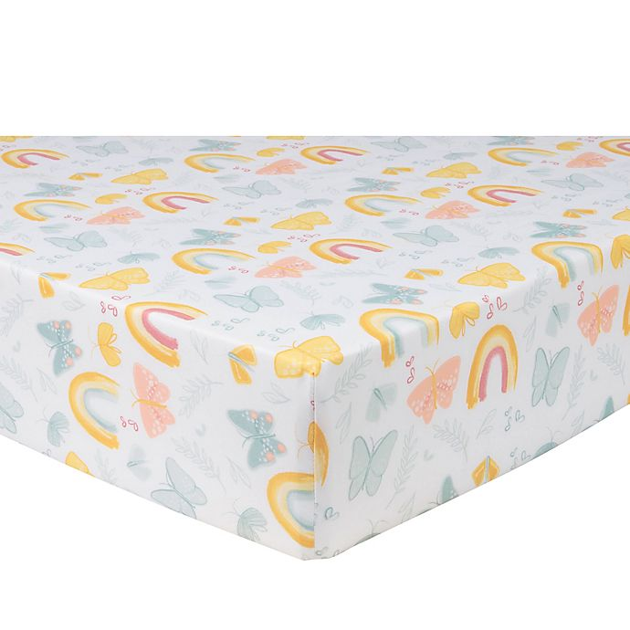 Alternate image 1 for Sammy & Lou 2-Pack Butterflies and Sunshine Microfiber Fitted Crib Sheets in Yellow