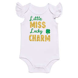 "Baby Starters® Newborn ""Miss Lucky Charm"" Bodysuit in White"