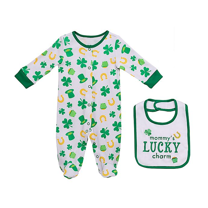 Alternate image 1 for Baby Starters® Newborn 2-Piece Lucky Charm Footie and Bib Set in Green