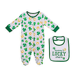 Baby Starters® Newborn 2-Piece Lucky Charm Footie and Bib Set in Green