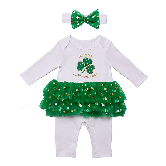 Alternate image 1 for Baby Starters® 2-Piece St. Patricks Day Skirted Coverall and Headband Set in White