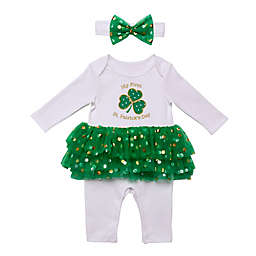 Baby Starters® 2-Piece St. Patricks Day Skirted Coverall and Headband Set in White