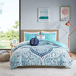 Intelligent Design Natalia 4-Piece Reversible Comforter Set in Aqua