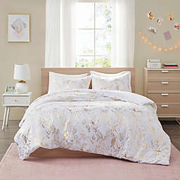 Intelligent Design Magnolia Printed Floral 5-Piece King/California Duvet Cover Set in Gold