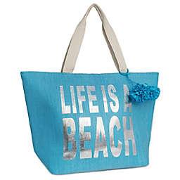 "Magid ""Life Is A Beach"" Insulated Straw Beach Tote"