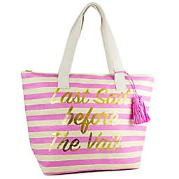 Last Sail Novelty Insulated Straw Beach Tote in Natural/Pink