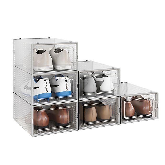 Alternate image 1 for Simply Essential ™ Swing-Front Shoe Storage Box (Set of 6)