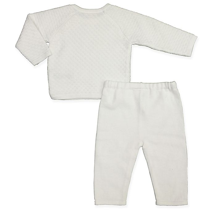 Alternate image 1 for Clasix Beginnings™ by Miniclasix® Size 9M 2-Piece Top and Pant Set in White
