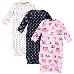 Hudson Baby® Size 0-6M 3-Pack Pink and Navy Floral Quilted Gowns