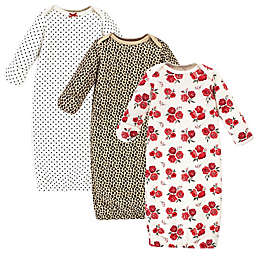 Hudson Baby® Size 0-6M 3-Pack Rose Leopard Quilted Gowns