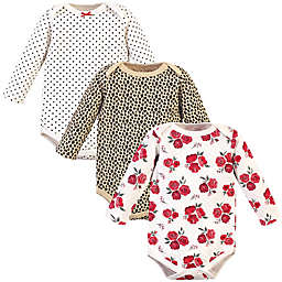 Hudson Baby® Size 0-3M 3-Pack Quilted Long Sleeve Bodysuits in Rose