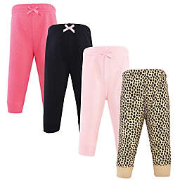 Hudson Baby® Size 5T 4-Pack Quilted Jogger Pants in Leopard/Pink
