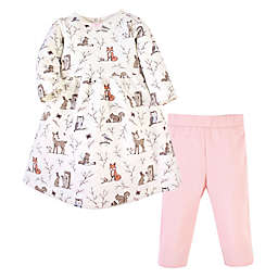 Hudson Baby® Size 5T Forest Quilted Dress and Leggings 2-Piece Set in Pink