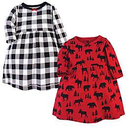 Hudson Baby® 2-Pack Moose Bear Dresses in Red