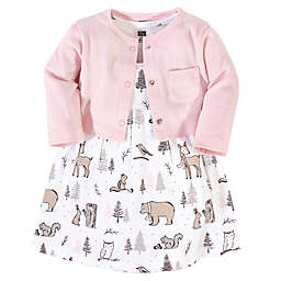 Hudson Baby® Size 5T 2-Piece Winter Graphics Dress and Cardigan Set in Pink