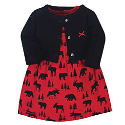 Hudson Baby® Size 4T Moose Bear Dress and Cardigan 2-Piece Set in Red