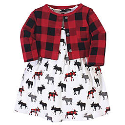 Hudson Baby® Size 3T 2-Piece Moose Dress and Buffalo Plaid Cardigan Set in Red
