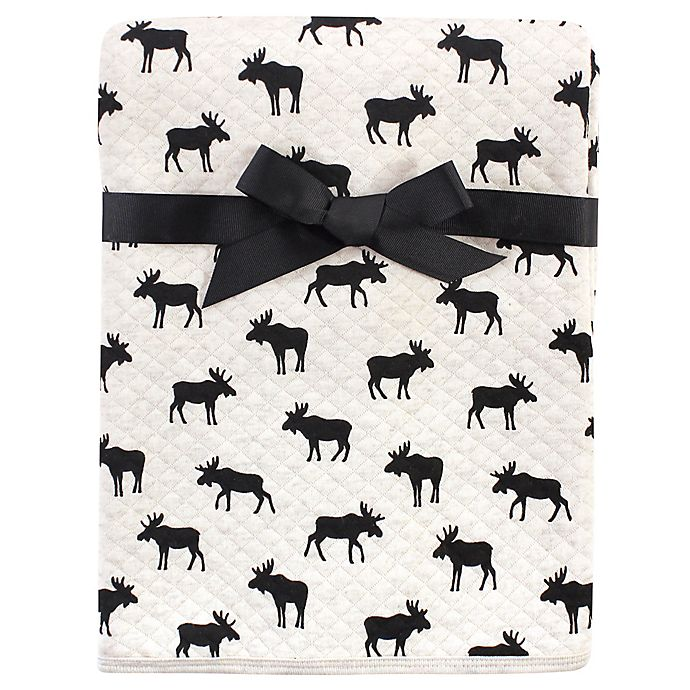 Alternate image 1 for Hudson Baby® Moose Cotton Quilted Blanket in Black