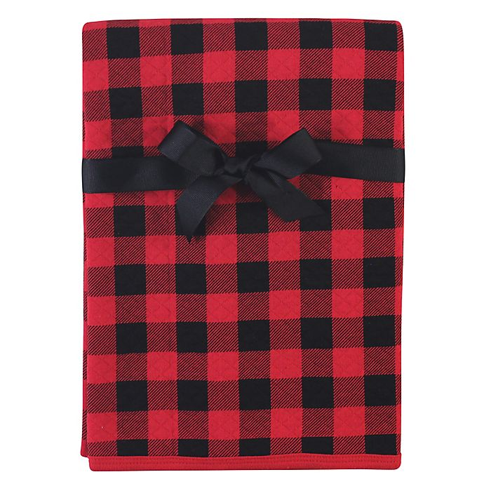 Alternate image 1 for Hudson Baby® Buffalo Plaid Cotton Quilted Blanket in Red