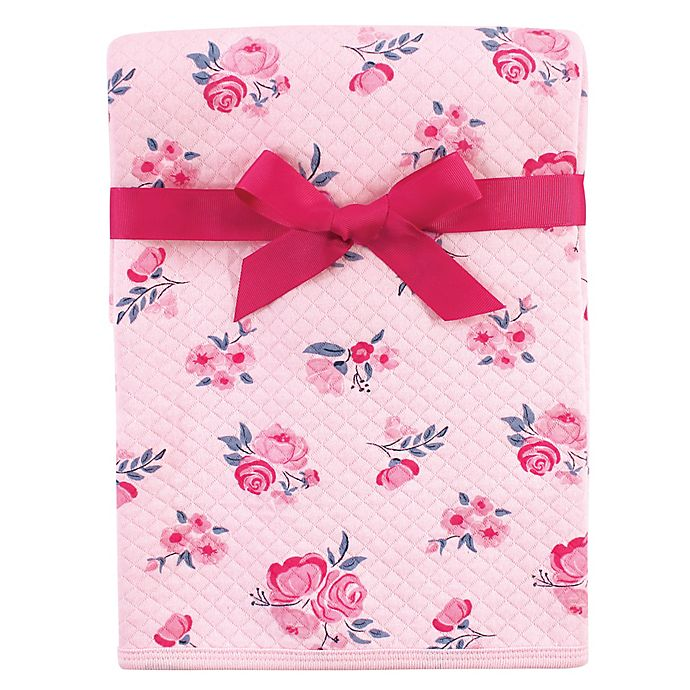 Alternate image 1 for Hudson Baby® Floral Cotton Quilted Blanket in Pink