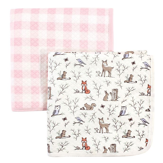 Alternate image 1 for Hudson Baby® 2-Pack Enchanted Garden Cotton Quilted Blankets in Pink