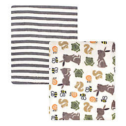 Hudson Baby® 2-Pack Bunny Coral Fleece Plush Blankets in Green