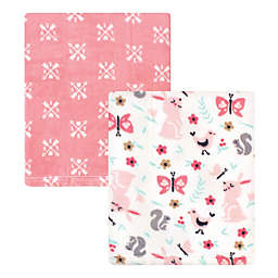 Hudson Baby® 2-Pack Sweet Bunny Coral Fleece Plush Blankets in Pink