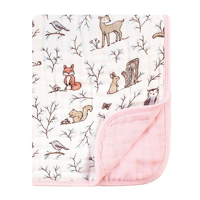 Alternate image 1 for Hudson Baby® Forest Muslin Tranquility Blanket in Pink