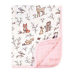 Hudson Baby® Forest Muslin Tranquility Blanket in Pink