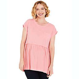 Motherhood Maternity® Cuffed Sleeve Babydoll Maternity Shirt in Wood Rose