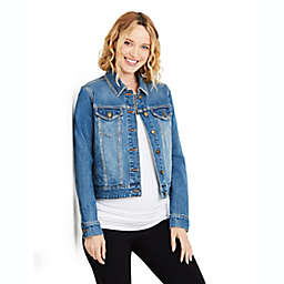 Motherhood Maternity® Button Front Plain Weave Denim Maternity Jacket in Blue