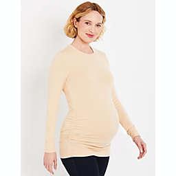 Motherhood Maternity® Large Ruched Maternity Sweater in Nude/Khaki
