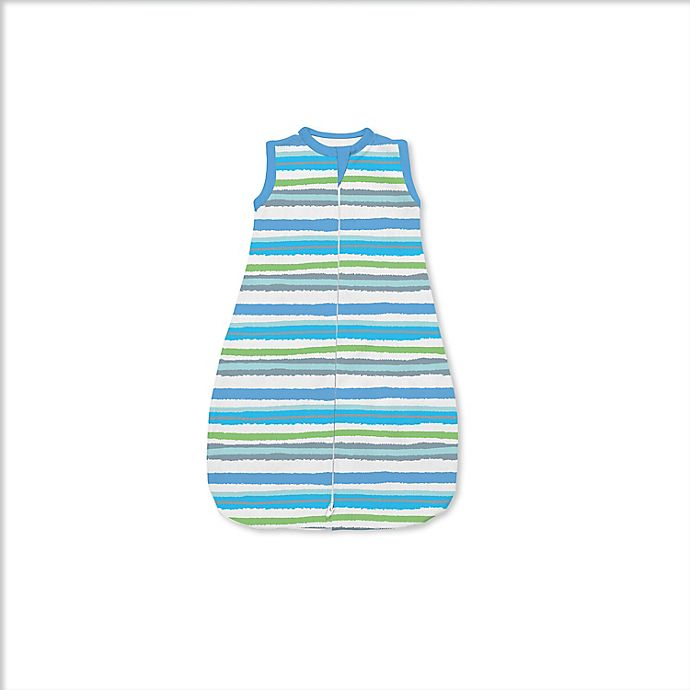Alternate image 1 for SwaddleMe® Small Painted Stripes Night Sack Sleeper in Blue/Green