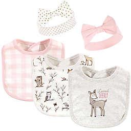 Hudson Baby® 5-Piece Enchanted Cotton Bib & Headband Set in Pink