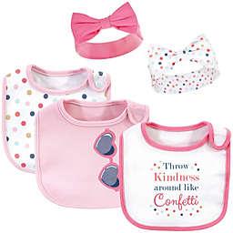 Little Treasure 5-Piece Confetti Cotton Bib and Headband Set in Pink